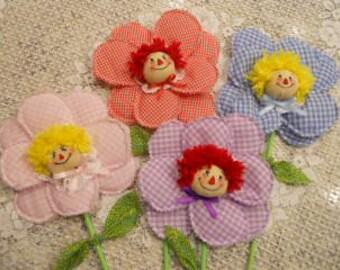 Raggedy Flower Dolls, Raggedy Annies, Flowers
