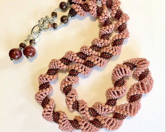 Rose Spiral Necklace- Dutch Spiral- Beaded Spiral- Beadwoven Necklace- Dusty Rose Necklace- Beaded Jewelry Set- Free shipping US only
