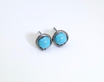 Turquoise stud earrings, niobium earrings, stud earrings, turquoise earrings, December birthstone earrings, gemstone earrings,  post earring