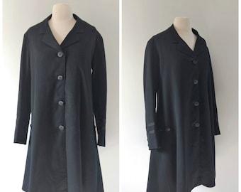 Vintage antique frock coat, Edwardian black coat riding coat, medium