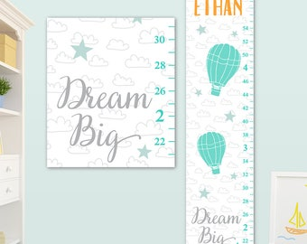 Dream Big Growth Chart - Personalized on Canvas - Hot Air Balloon Nursery, Hot Air Balloons Nursery, Hot Air Balloons Art  - GC8010O