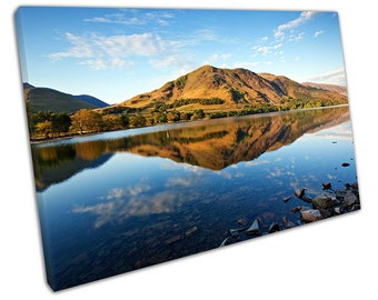 Blue skies Lake Buttermere refection's The English Lake District Canvas X1426