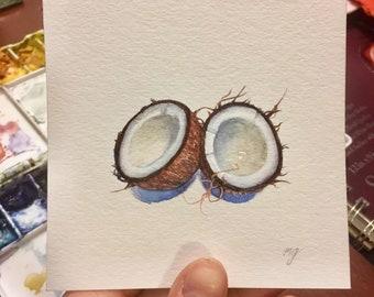 Coconut, miniature watercolor painting