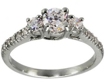 Three Stone Ring In 14K White Gold With A Delicate Ring Design & Diamond Accents