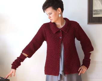 Cardigan hand knitted, cropped cardigan, cardigan sweater, swing cardigan, wine red cardigan & arm warmers, baby doll sweater, READY TO SHIP