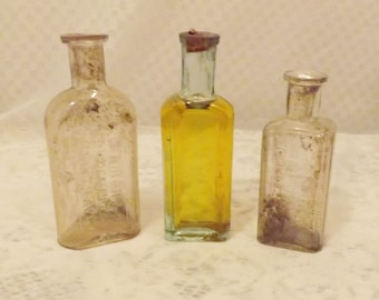Antique New York Apothecary Medicine Bottles  Clear Glass w Cork