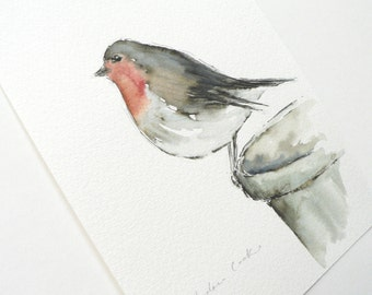 giclee print of an ink and watercolor painting of a Robin