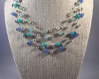 Multi Strand Layered Necklace, Layered Necklace