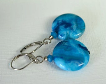 Turquoise Blue Agate Earrings - Gemstone Dangle Earrings