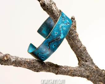 Copper Bracelet with custom patina and plates - wavy - hand made in Chester Nebraska