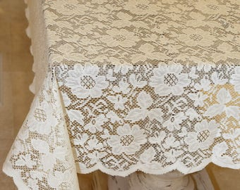 54x54 Inch Ivory Floral Lace Square Tablecloth Overlay Vintage Inspired  Table Cover Crochet Tablecloth Lace Tablecloths