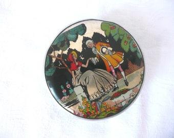 Gwenda powder jar - 1930s trinket dish - 1930s foil top powder jar - Art Deco Gwenda milk glass jar - Gwenda foil powder or cream jar