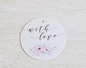 With Love Gift Tag, Wedding Favor Tag, Wedding Gift Tag, Bonbonniere Tag, Pink Flowers, Watercolor Flowers, Floral Gift Tag, Thank You Gift