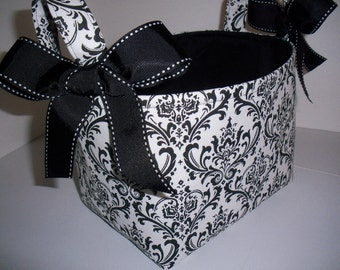 Organizer bin / Fabric Basket Reversible Black White Damask