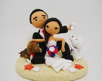 Beach theme custom wedding cake topper