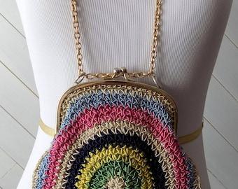 Multicolor crocheted handbag   Vintage 1950s-1960s Bobbie Jerome Made in Italy
