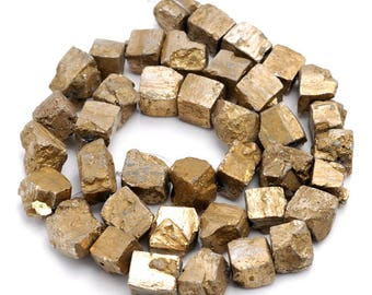8-10mm Iron Pyrite Gemstone Gold Rugged Nugget Cube Loose Beads 15.5 inch Full Strand (90144824-418)