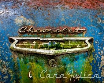 Chevrolet Emblem on Blue 1950s car Photograph