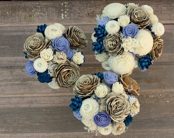 Sola flower bouquet, brides wedding bouquet, navy blue wedding flowers, navy blue bouquet, eco flowers, alternative keepsake, wood flowers