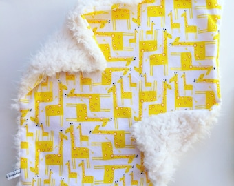 Mini Baby Cuddle Blanket - Giraffes with Ivory Llama Minky Backing