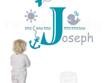 Personalized Boy Name Wall Decal, Nautical Theme Wall Sticker Nursery Wall Decor Australian Made