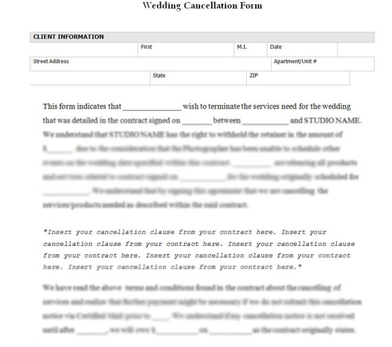 Wedding Photography Cancellation Form