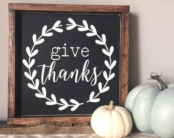 Give Thanks Framed Wood Sign