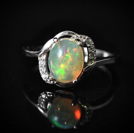 Sterling Silver Opal  Ring Sz 7  #10019