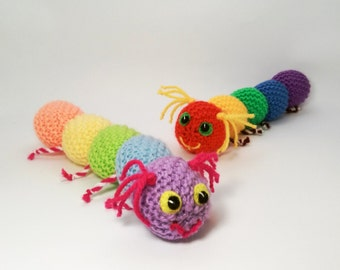 Baby toy rattle, colorful caterpillar, knitted handmade stuffed toys
