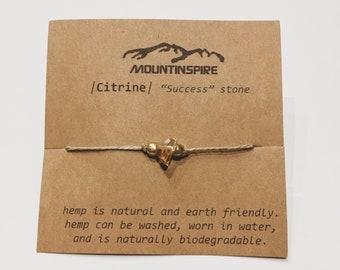 Citrine   Wish Bracelet   Citrine Jewelry   Crystal Wish Bracelet   Citrine Bracelet   Boho Style   Hemp Jewelry