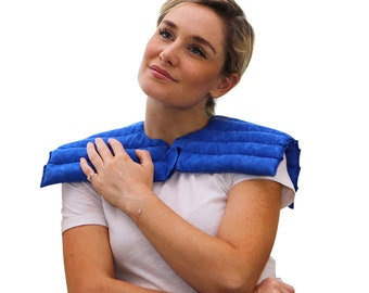 Neck & Shoulder Microwave Heat Pad Wrap, Spa and Relaxation, Natural and Reusable Hot Cold Pack, Moist Heat Herbal Therapy (Blue Marble)