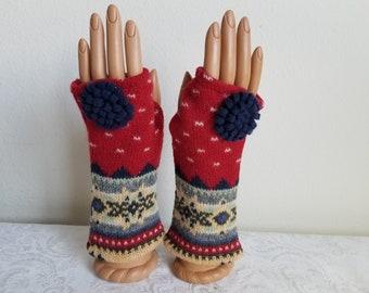 Pom Pom Fingerless Gloves in Red and Navy Multi  Lambswool