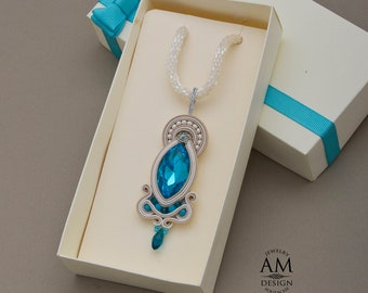 Elegant blue crystal necklace seed beads statement necklace wife birthday gift soutache necklace jewelry