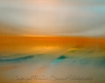 Golden Bridge, orange landscape, blue, yellow, ethereal photo, zen, abstract canvas, giclee, canvas ready to hang, museum paper, fine art