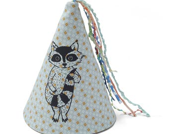 Raccoon print fabric party hat