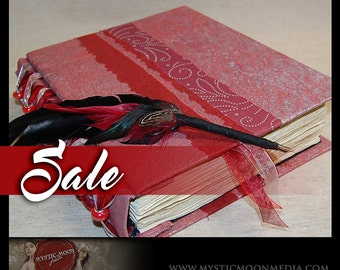 SALE/ Scarlet Silver Swirl...Patchwork... Beaded XL Handmade Journal / Sketch Book and Quill Pen...Guest Book...Refillable BOS