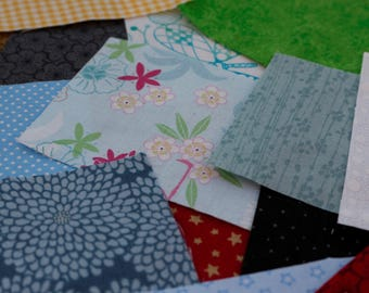 "50 4"" x 3"" 100% Cotton Fabric Pieces for Patchwork, Sewing and Craft - Free P&P"