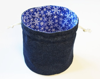 Denim & White Snowflakes Bright Blue Bucket Bag Winter Small Womens Travel Tote Kids Toy Bag - US Shipping Included