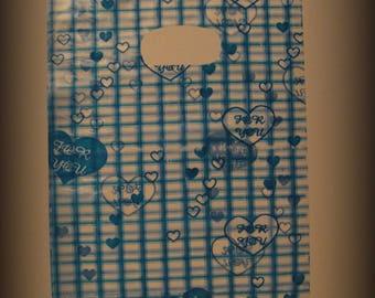 Set of 10 plastic bags, blue, size 17 * 14 cm