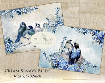 Cream and Navy Birds tags - aceo - Digital Collage Sheet - BLUE BIRDS - Digital sheet - Scrapbooking - Shabby chic - Vintage birds