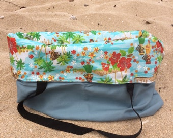 Hawaiian Hula Girl Print Blue Canvas Bag