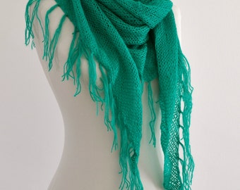 Knit Scarf Fringe Scarf Super Soft Cozy Warm Cowl Triangle Shawl Emerald Green Gift for Her Christmas Gift Idea