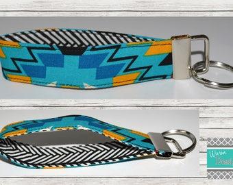 Aztec/Teal/Mustard/Gold/Black Fabric Key chain, Key Fob, Wristlet Keychain, Wristlet Key Fob,