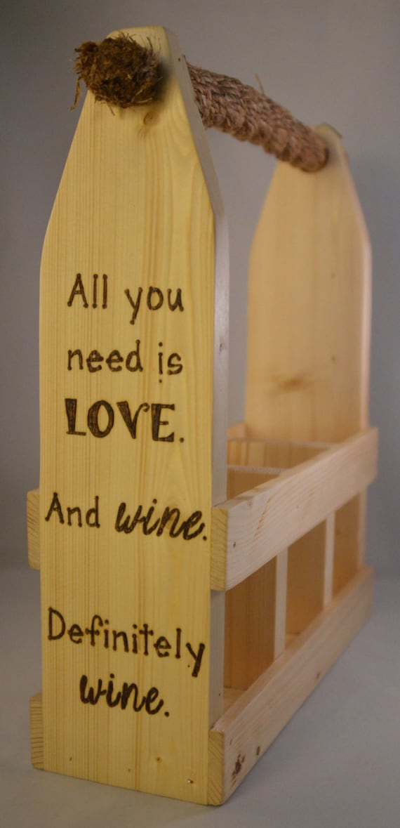 "Wine Caddy - 3 Bottle - ""Love & Wine"""