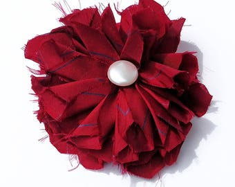 Recycled Vintage Silk Necktie Fabric Flower Clip Pin  - Red and Blue