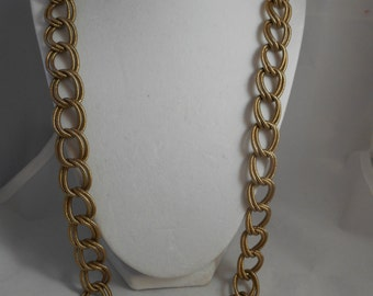 Vintage 1970's Omni Fine Jewelry Long Connected Double Brass Chain