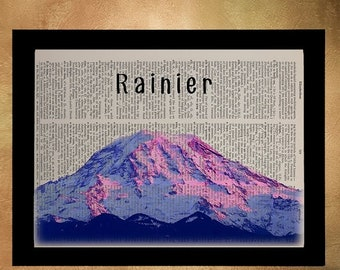 SALE -- Mt Rainier Dictionary Art Print Seattle Washington Pacific Northwest Pacific Northwest Wall Art Home Decor da617