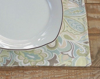 Modern Green Paisley Reversible Placemats Set of 4 Spring Green Table Mats Placemats