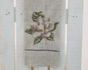Magnolia Embroidered Guest Towel