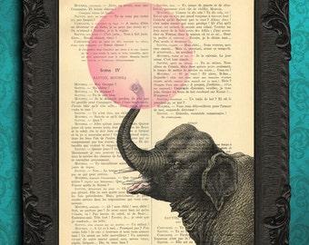 Elephant with bubblegum illustration bubble gum art elephant pink bubble print